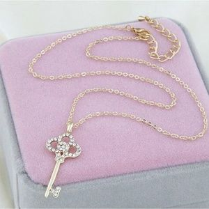 Jewelry - Rhinestone Key Pendant Necklace